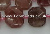 CNG7455 12*16mm - 15*20mm faceted freeform strawberry quartz beads