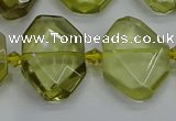 CNG7474 15.5 inches 13*18mm - 18*25mm faceted freeform lemon quartz beads