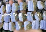 CNG7479 18*25mm - 20*28mm faceted freeform blue lace agate beads