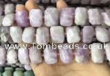 CNG7763 13*18mm - 15*25mm faceted freeform kunzite beads