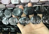 CNG7837 22*30mm - 25*35mm faceted freeform hypersthene beads