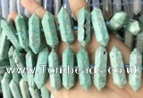 CNG7927 15.5 inches 10*25mm - 12*45mm faceted nuggets amazonite beads