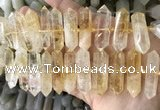 CNG7931 15.5 inches 10*22mm - 12*45mm faceted nuggets citrine beads
