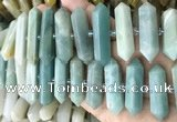 CNG7943 10*22mm - 12*45mm faceted nuggets amazonite beads