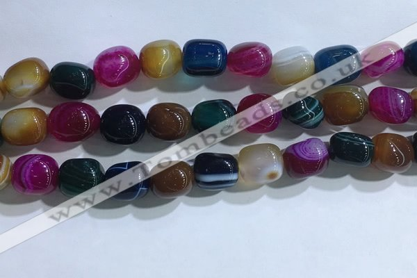 CNG8145 15.5 inches 8*12mm nuggets striped agate beads wholesale