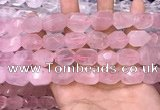 CNG8580 13*18mm - 15*20mm faceted nuggets rose quartz beads