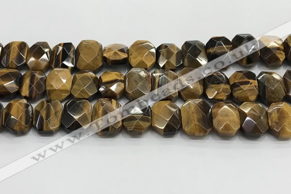 CNG8620 10*13mm - 12*16mm faceted freeform yellow tiger eye beads