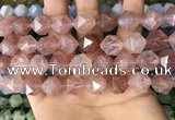 CNG8699 15.5 inches 14mm faceted nuggets strawberry quartz beads