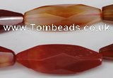 CNG881 15.5 inches 15*40mm faceted rice red agate nugget beads