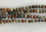 CNI377 15.5 inches 8mm round matte American picture jasper beads