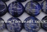 CNL1108 15.5 inches 16mm flat round lapis lazuli gemstone beads