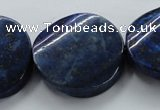 CNL698 15.5 inches 30mm twisted coin natural lapis lazuli beads