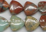 CNS117 15.5 inches 18*18mm triangle natural serpentine jasper beads