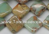 CNS156 15.5 inches 16*16mm diamond natural serpentine jasper beads