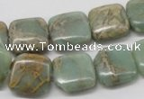 CNS17 16 inches 16*16mm square natural serpentine jasper beads