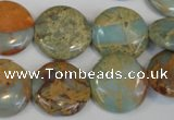 CNS190 15.5 inches 18mm flat round natural serpentine jasper beads