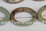 CNS198 15.5 inches 22*30mm oval donut natural serpentine jasper beads