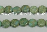 CNS280 15.5 inches 10mm flat round natural serpentine jasper beads
