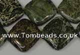 CNS532 15.5 inches 20*20mm diamond natural serpentine jasper beads
