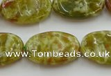 CNS634 15.5 inches 15*20mm oval green dragon serpentine jasper beads
