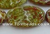 CNS638 15.5 inches 30*40mm oval green dragon serpentine jasper beads