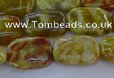 CNS671 15.5 inches 12*16mm rectangle green dragon serpentine jasper beads