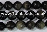 COB266 15.5 inches 12mm faceted round golden obsidian beads