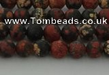 COB671 15.5 inches 6mm round matte red snowflake obsidian beads
