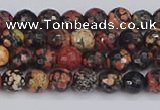 COB676 15.5 inches 4mm faceted round red snowflake obsidian beads