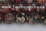 COB680 15.5 inches 12mm faceted round red snowflake obsidian beads