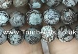 COB691 15.5 inches 6mm faceted round Chinese snowflake obsidian beads