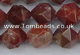 COJ1009 15.5 inches 12mm faceted nuggets pomegranate jasper beads