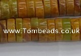 COJ622 15.5 inches 3*10mm heishi orpiment jasper beads