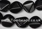 CON100 15.5 inches 16mm cut coin black onyx gemstone beads