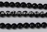 CON14 15.5 inches 7mm faceted round black onyx gemstone beads