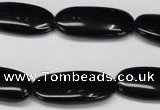 CON36 15.5 inches 10*30mm oval black onyx gemstone beads