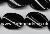 CON58 15.5 inches 18*25mm twisted oval black onyx gemstone beads