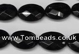 CON66 15.5 inches 15*20mm faceted oval black onyx gemstone beads