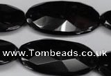 CON69 15.5 inches 20*40mm faceted oval black onyx gemstone beads