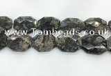 COP1552 30*40mm - 35*45mm faceted octagonal grey opal beads