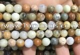 COP1569 15.5 inches 10mm round yellow moss opal beads wholesale