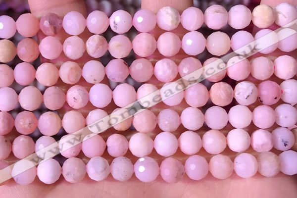 COP1743 15.5 inches 6mm - 7mm faceted round natural pink opal beads