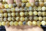COP1769 15.5 inches 12mm round matte yellow opal beads wholesale
