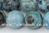COP1794 15.5 inches 14mm round blue opal gemstone beads
