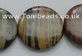 COP215 15.5 inches 30mm flat round natural brown opal gemstone beads