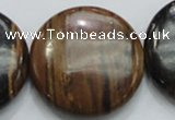 COP216 15.5 inches 35mm flat round natural brown opal gemstone beads