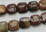 COP243 15.5 inches 12*12mm square natural brown opal gemstone beads