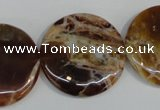 COP312 15.5 inches 30mm flat round brandy opal gemstone beads wholesale