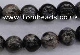 COP453 15.5 inches 8mm round natural grey opal gemstone beads