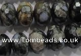 COP478 15.5 inches 13*18mm faceted rondelle natural grey opal beads